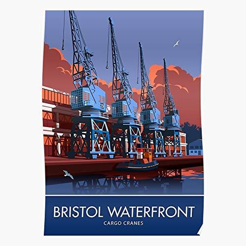 Heritage Harbour Retro Crane Sunset Travelposter Nostalgia Bristol Home Decor Wall Art Print Poster !