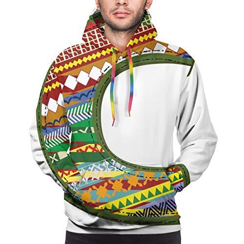 Men's Hoodies Sweatershirt,Ornamental Design Multicolor Digitally Constructed Image ABC Alphabet Educational,3XL
