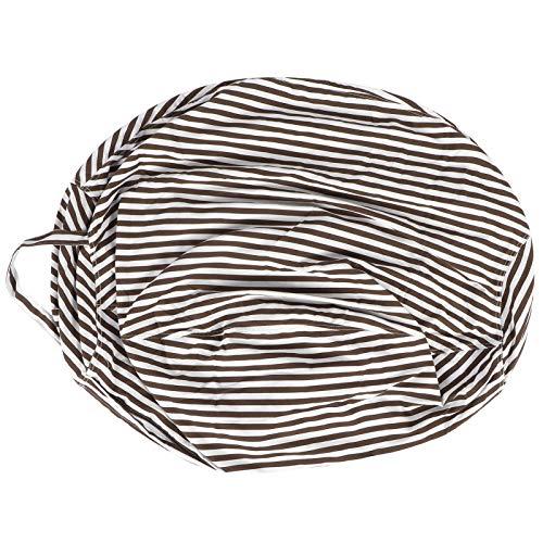 bizofft Sitzsack Stuhlbezug, Kinderspielzeug Aufbewahrungstasche DIY Sofabezug Sofabezug, 31,5 x 31,5 Zoll maschinenwaschbar zum Füllen von Spielzeugdecken(Coffee Stripes)