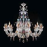 Carola Murano Glas Kronleuchter in Nickel transparent multicolour | Handgefertigt in Italien | Luster Klassisch Dekorativ Dimmbar | Lampe E14