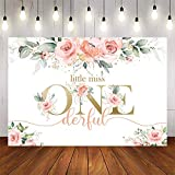 Avezano Miss Onederful Birthday Backdrop Pink Floral 1st Birthday Backdrop Sweet Baby Girl First Birthday Party Decoration Banner (7x5ft)