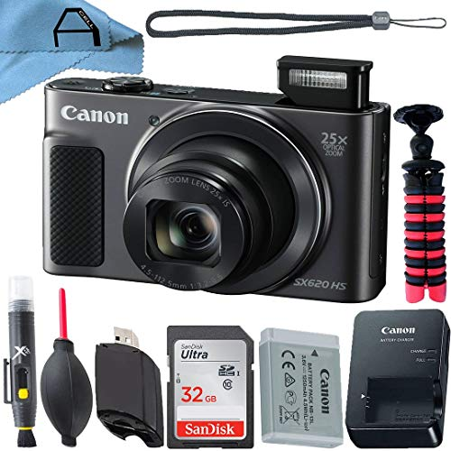 Canon PowerShot SX620 HS Digital Camera 20.2MP Sensor with SanDisk 32GB Memory Card, Tripod and A-Cell Accessory Bundle (Black)