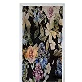 Homesonne Green Leafy Flower Window Film Stained Glass Stickers Water Color Pattern with Flowers Rose iris and Hibiscus Illustration 35.4' x 39' Nighttime Privacy Window Film