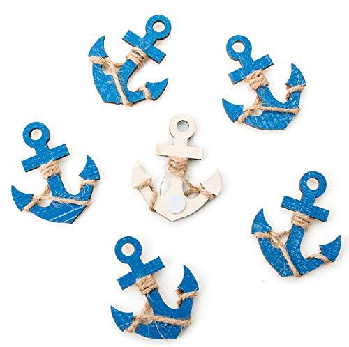 6 kleine blaue Holzanker MIT Klebepunkt: Maritime Deko Schiffsanker Anker Streuteile Streudeko Zierstreu Mini Tischschmuck Hochzeit Event Business Symbol Kraft Mut Zukunft zum Streuen und Kleben