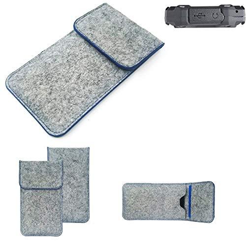 K-S-Trade Filz Schutz Hülle Für Simvalley Mobile SPT-210 Schutzhülle Filztasche Pouch Tasche Hülle Sleeve Handyhülle Filzhülle Hellgrau, Blauer Rand