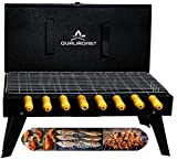 Qualiroast Foldable Barbeque Grill Charcoal Briefcase, Portable Barbeque Tandoor Iron Set for Outdoor, Home Table Stand with Tools Accessories 8 skewers,1 Grill,1kg Coal,1Tong,1Glove (Indian Made)