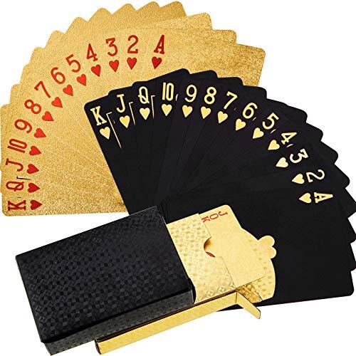 2 Mazzi di Carte da Gioco Carte da Poker Impermeabili Carta da Poker in Plastica PET Novità Strumenti di Gioco del Poker Gioco di Famiglia (nero e oro)