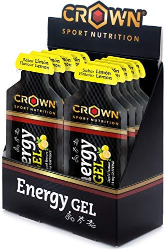 Crown Sport Nutrition 12 x Energy Gel (40g), Gel energético textura líquida con aminoácidos y electrolitos para deportistas, Sabor de Limón