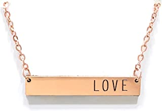 Modern rose gold diffuser necklace:LOVE aromatherapy bar necklace for essential oils - minimalist, chic, dainty (adjustable)