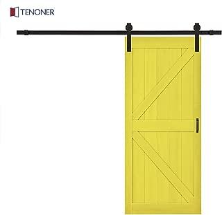 Tenoner 36 inches x 84 inches Lemon Yellow K-Frame Sliding Barn Door, with Barn Door Hardware Kit