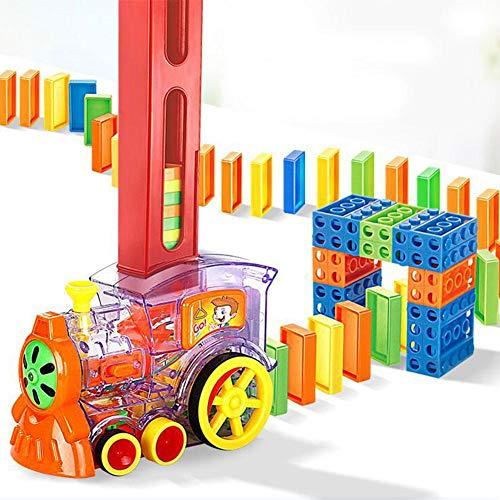 Domino Zug Spielzeug Set Kinder Domino Set Elektrische Rallye Zug Motorförmiges Spielzeug Mit Licht Und Bunten Spiel Bausteine Auto LKW Fahrzeug Stapeln Spielzeug