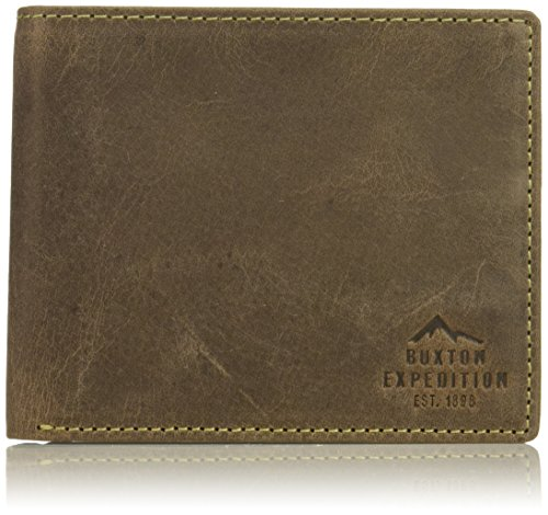 Buxton Men's Expedition Ii RFID Blocking Leather Thinfold Wallet, Walnut, One Size