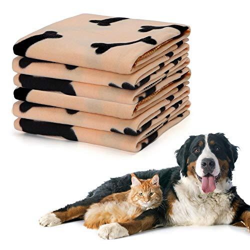 Nobleza – 6 Unidades Mantas Grandes de Suave Felpa para Perros, Gatos Conejos y Otras Mascotas, Mejorada y Engrosada, Lavable Mantas para Perros Mantas de Gatos, Color Beige, 100 * 160cm