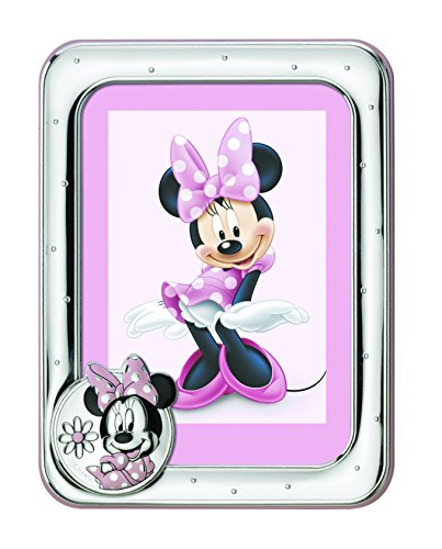 Disney Baby – Minnie Mouse – Cadre photo en argent pour table ou table de chevet pour chambre d'enfant avec détails colorés