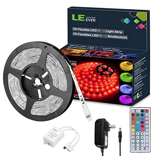 LE RGB LED Strip Lights Kit,16.4ft 12V Flexible LED Light Strip,5050 SMD LED,Waterproof,Color Changing Rope Light with Remote Controller and 12V Power Supply for TV Backlight,Home,Kitchen,Bedroom