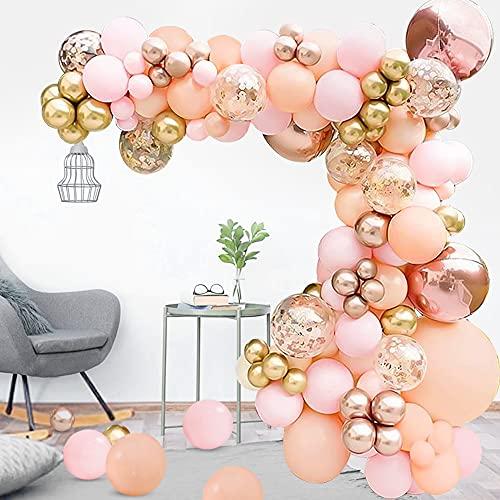 TOLOYE Kit Arco Globos, Guirnalda Globos Rosa Melocotón con Globos de Metálicos Oro Rosa Globos de Aluminio 4D Globos Confeti para Baby Shower Bodas Cumpleaños Decoraciones para Fiestas