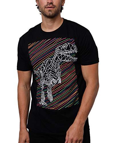 INTO THE AM Rawr Glow in The Dark Men's Graphic T-Shirt (Black, Medium)