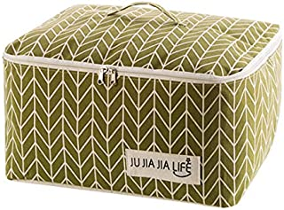 TT WARE Cotton Linen Quilts Storage Bag Clothes Organizer Bag Folding Camping Travel Luggage Bag-Green