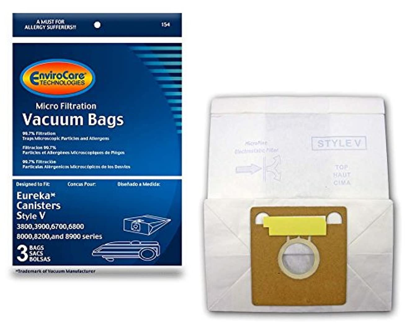 EnviroCare Replacement Vacuum Bags for Eureka Style V Canisters 3 pack