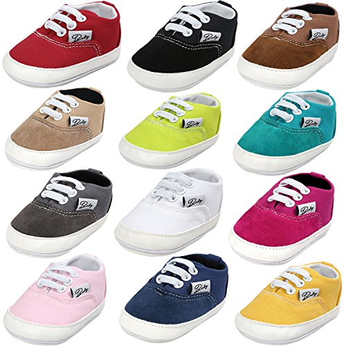 BENHERO Baby Boys Girls Canvas Toddler Sneaker Anti-Slip First Walkers Candy Shoes 0-24 Months 12 Colors(13cm,12-18 Months Toddler, Aa/Grass)