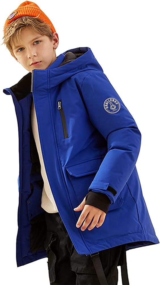 Warm Casual Children's Down Jacket, Mid-Length Boys Girls Thickened Winter White Duck Down Windproof Jacket