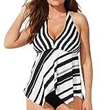 VEMOW Bikini Sets Elegante Damen Frauen Tankini Sets Mit Jungen Shorts Bademode Hohe Taille Zweiteilige Badeanzüge(Weiß, 46 DE / 4XL CN)