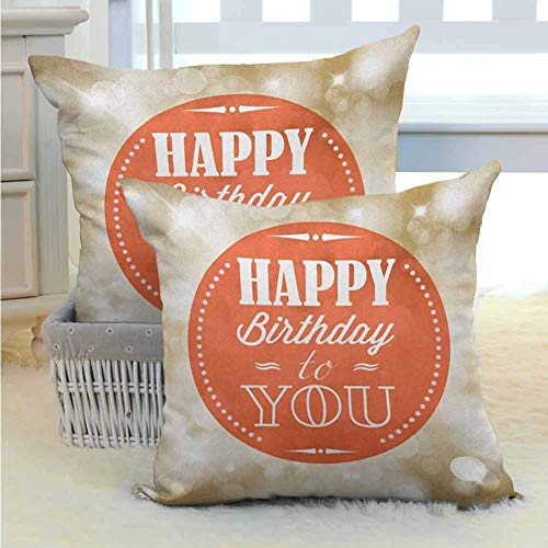 Funda de almohada decorativa de cumpleaños con sello con letras retro, mensaje de celebración, fondo de Bokeh, impresión de ilustraciones, duradera, decorativa para sofá, sofá, sala de estar, decoraci
