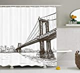 HiExotic Duschvorhang Whimsy New York Shower Curtain Sets Digital Drawn Brooklyn Bridge Unusual Graffiti Style Old Urban Cityscape Print,Non-Toxic Waterproof Decor,Brown White,60X72In