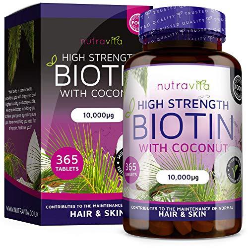 Biotina con Aceite de Coco - Biotina 10000 mcg para Crecimiento del Cabello y uñas - Vitamina B7 para un mejor resultado - 365 Tabletas (Suministro para 1 año) - Hecho en el Reido Unido por Nutravita