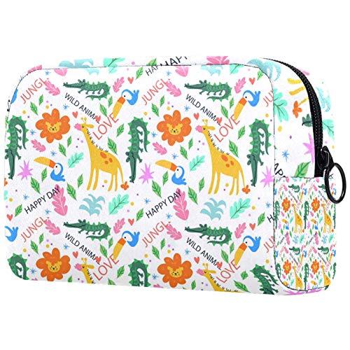 Bolso organizador de cosméticos para mujer con cremallera, diseño de frutas tropicales coloridas