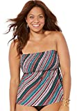 Swimsuits For All Women's Plus Size Smocked Bandeau Tankini Top 16 Olive Stripe