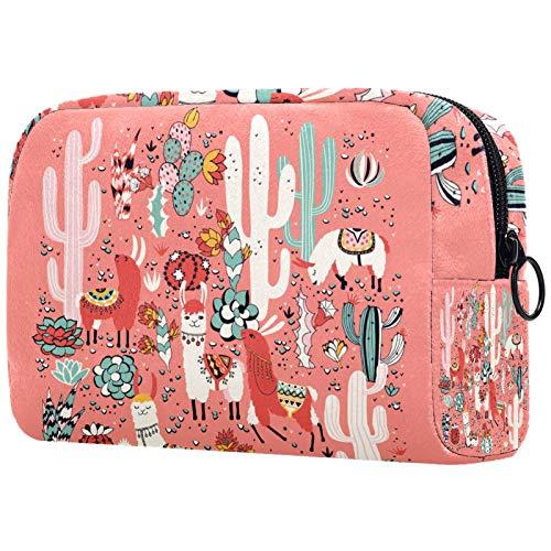 Make-up Taschen Tragbare Reise Kosmetiktasche Organizer Multifunktionskoffer Glückliches Kamel mit Netter Blumenpflanze mit Reißverschluss-Kulturbeutel für Frauen