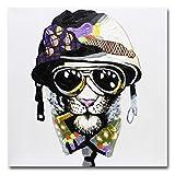 Fokenzary handgefertigtes Gemälde mit rauchendem Hund mit Helm und Sonnenbrille, auf Leinwand, fertig gerahmt zum Aufhängen, canvas, 24x24in