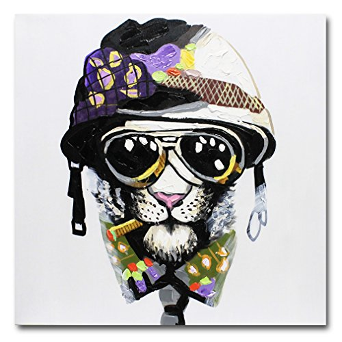 Fokenzary Hand Painted Painting Smoking Dog with Helmet and Sunglasses on Canvas Wall Decor Framed Ready to Hang