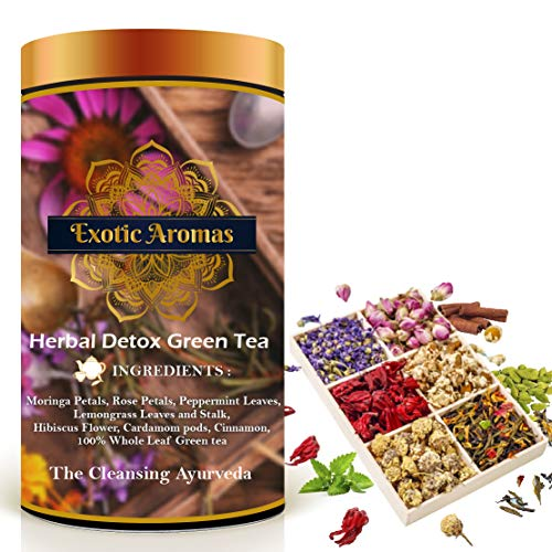 Exotic Aromas Herbal Detox Tea (100G Serves 50 cups), Green Tea for detox, weightloss with moringa, hibiscus, rosepetals and cardamom