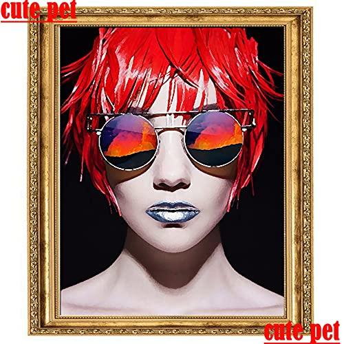 DIY Pintura De Diamante 5D-Chica de Moda con Gafas 30x40cm-bordado Punto de Cruz Rhinestone imágenes Arte Manualidades para el hogar Decoración de la Pared Regalo