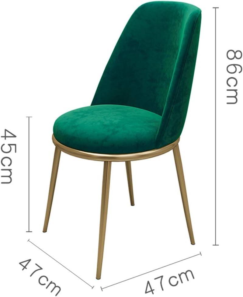 LJFYXZ Chaises Salle Manger Velours Siège à Dossier Haut Designer Moderne Chaise de réception Pieds en métal pour Cuisine, Salle à Manger, Chambre 47x47x86cm (Color : Gray) Green
