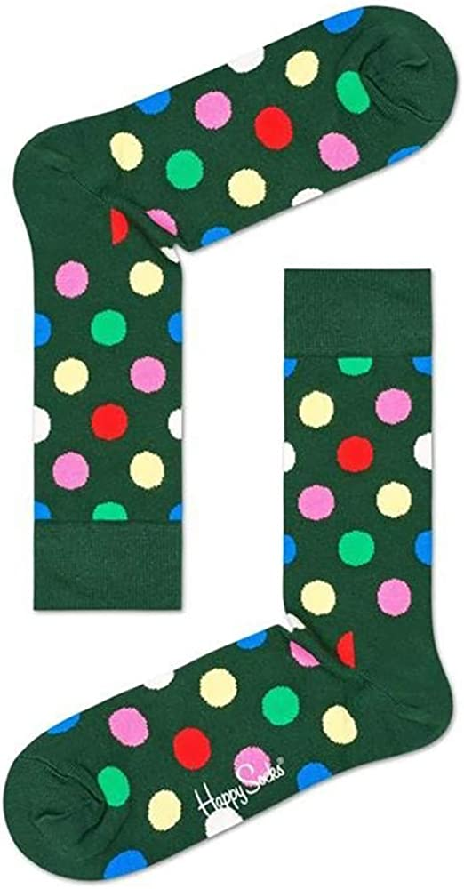 Happy Socks Unisex Big Dot Colorful Printed Crew Sock
