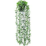 FUNARTY Fake Plant Decor Small Artificial Hanging Plant Fake Eucalyptus Plant Faux Greenery Vine Plant in Pot for Home Indoor Room Outdoor Décor