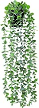 Funarty Fake Plant Decor Small Artificial Hanging Plant Fake Eucalyptus Plant Faux Greenery Vine Plant in Pot for Home Indoor Outdoor Décor