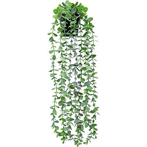 FUNARTY Planta falsa para decoración de plantas, planta colgante artificial pequeña de eucalipto, planta de vid de imitación verde en maceta para decoración de interiores y exteriores