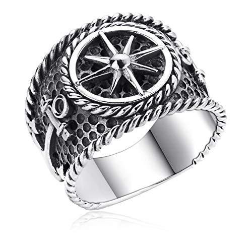 MATERIA Breiter Herrenring Nautischer Stern - 925 Silber Ring Anker maritim antik 18 19 20mm SR-36, Ringgrößen:57 (18.1 mm Ø)