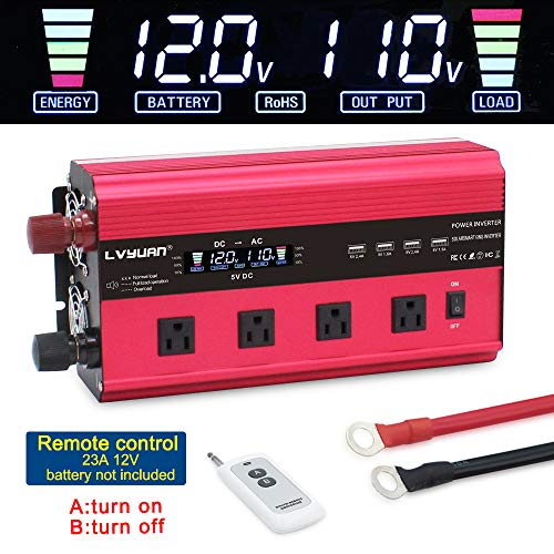LVYUAN Power Inverter 2500W/5000W Inverter 12V to 110V DC to AC Inverter with Remote Control LCD Display 4 AC Sockets 4 USB Charge Ports 4 Cooling Fans