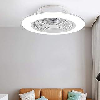 Bolso Vintage Mujer Techo LED Inteligente del Ventilador Regulable sin escalonamiento Luz de Control de App (Color : Blanco, tamaño : B)