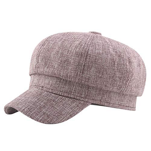 Yue668 - Sombrero Octogonal de algodón de Color Liso, cálido para Pintar, Boinas Vintage, Gorra de Color Liso Exterior, Unisex Adulto, Color Rojo, tamaño 57-58 cm