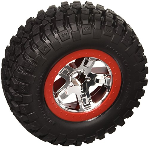 Traxxas 5869 BFGoodrich Mud-Terrain T/A KM2 Tires Pre-Glued on SCT Chrome, Red Beadlock-Style Wheels (2WD front)(pair)