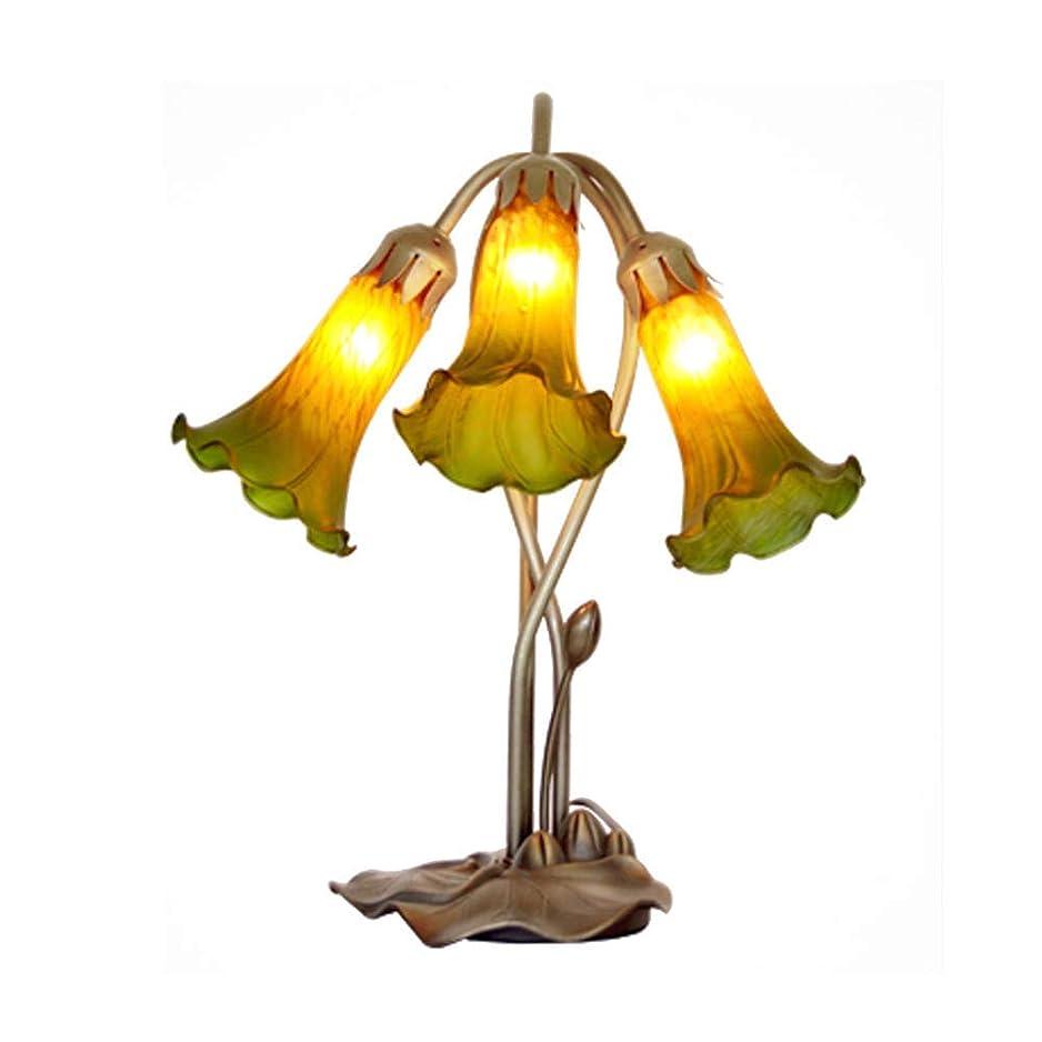 大邸宅トーストウッズ手吹きティファニースタイルテーブルランプ、E14 3ライトアンティーク真鍮ベース装飾ナイトスタンドランプユリの花ランプシェードテーブルライトレッド (Color : Green)