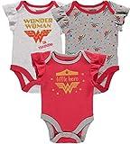 DC Comics Body para bebé para niña Wonder Woman Multi Pack Onsies, rojo/blanco/gris 1, 6-9 meses