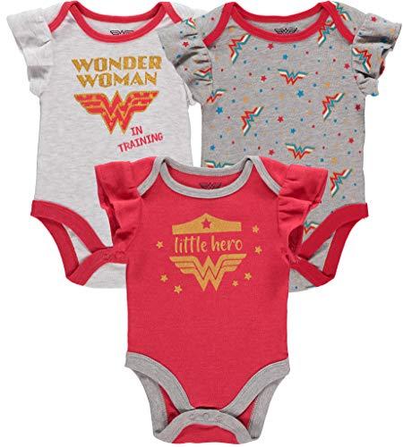 DC Comics Pacote com vários bodies para bebês meninas da Mulher Maravilha Supergirl Flash Batgirl, vermelho/branco/cinza 1, 6-9 meses