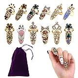 BraveWind 12Pcs Frauen Fingernagel Ringe Strass Nail Cover Ring Nail Art Charme Finger Dekoration Ringe mit 1Pcs Aufbewahrungstasche